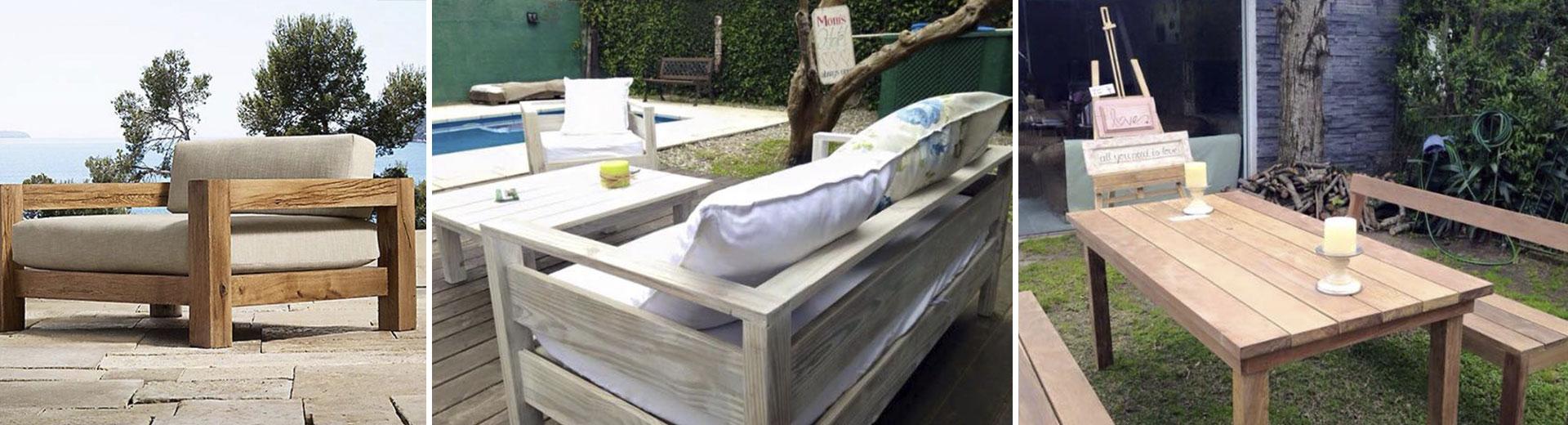 imágen de mesa y bancos de madera en el jardín